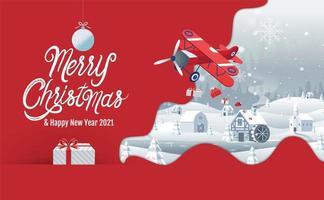 vrolijk kerst winterlandschap ontwerp met vliegtuig vector