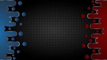 rode en blauwe vloeibare vormen over zwarte roostertextuur