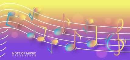 glanzende nota muziek achtergrond sjabloon vector