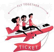 drie mensen zitten in een vliegtuig en vliegen samen