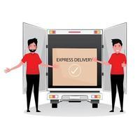 expreslevering door een vrachtwagen en mannen ernaast