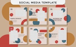 mode sociale mediasjabloon met cirkels vector