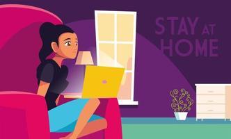 blijf thuis bewustzijn en een vrouw in thuiskantoor vector