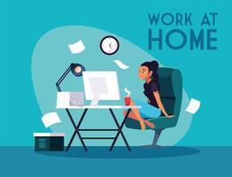jonge vrouwelijke freelancer op afstand werken vanuit huis vector