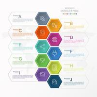 kleurrijke zeshoek infographic met aj-opties