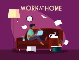 jonge mannelijke freelancer die op afstand werkt vanuit zijn huis vector