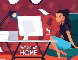 vrouwelijke freelancer werkt op afstand vanuit haar huis vector
