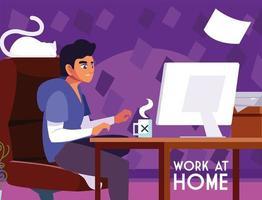 jonge mannelijke freelancer die vanuit zijn huis werkt vector
