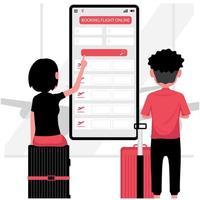 man en vrouw die online een vlucht boeken