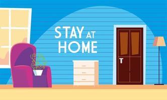 blijf thuis tekst en woonkamer vector