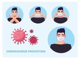 mannen met medisch gezichtsmasker die coronavirus voorkomen