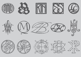 Oude Stijl Monogrammen vector