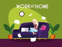 vrouwelijke freelancer die op afstand werkt vanuit huis vector
