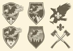 Vintage camping badges vector