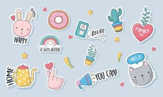 diverse leuke stickers, kaarten of patches vector