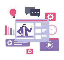 online klassenpictogrammen met vrouwenonderwijs vector