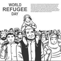 hand getrokken wereld vluchteling dag kaart met menigte