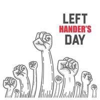 linkshandigen dag opgeheven vuist teken
