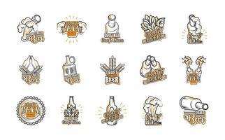 icon set van ambachtelijk bier vector