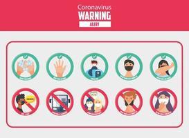 set pictogrammen van covid 19 veiligheidsmaatregelen en voorzorgsmaatregelen
