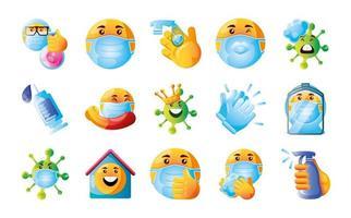 stel emoji's van coronavirus in vector