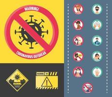 set van pictogrammen voor veiligheidsmaatregelen en voorzorgsmaatregelen