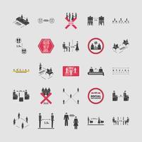 set van iconen van sociale afstand nemen