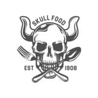 dood schedel bijtend vork en lepelembleem vector