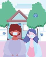 mensen die buiten maskers dragen tijdens het coronavirus