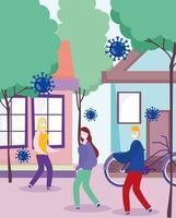 gemaskerde mensen die buiten lopen tijdens de uitbraak van het coronavirus