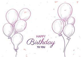 hand getrokken verjaardagsballonboeketten en tekst