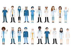 stripfiguur met medisch team en personeel