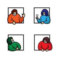 vier mensen praten met elkaar in ramen vector