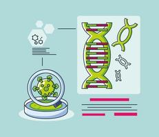 infographic met een dna-molecuul en coronavirusonderzoek vector