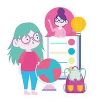 leraar en studentmeisje via online onderwijs vector