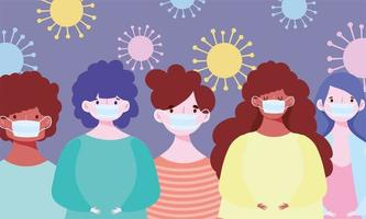 diverse personages die gezichtsmaskers droegen tijdens de uitbraak van covid-19