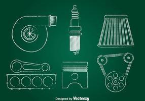 Turbo Motor Krijt Teken Icons Set vector