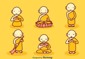 Handgetekende Cartoon Monk Vector Set