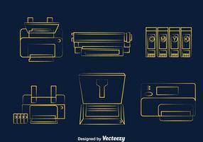 Printer lijn iconen vector