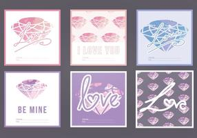 Vector Waterverf Love Cards