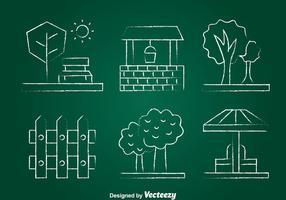 Garden Element Chlak Teken Icons Set