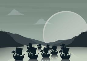 Gratis Viking Ship Illustratie vector