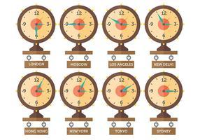 Gratis tijdzone iconen vector