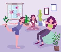 jonge vrouwengroep die yoga beoefent