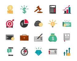 geassorteerde financiën en economiepictogrammen vector