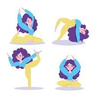 vrouwenfiguren die yoga doen