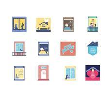 blijf thuis iconen collectie vector