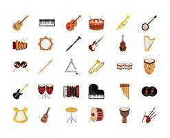 muziekinstrumenten pictogramserie vector