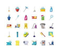 set van iconen van schoonmaak en huishouden