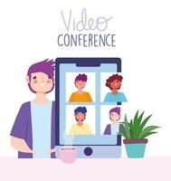 videoconferentie en virtuele bijeenkomst via sjabloon voor spandoek van smartphone vector